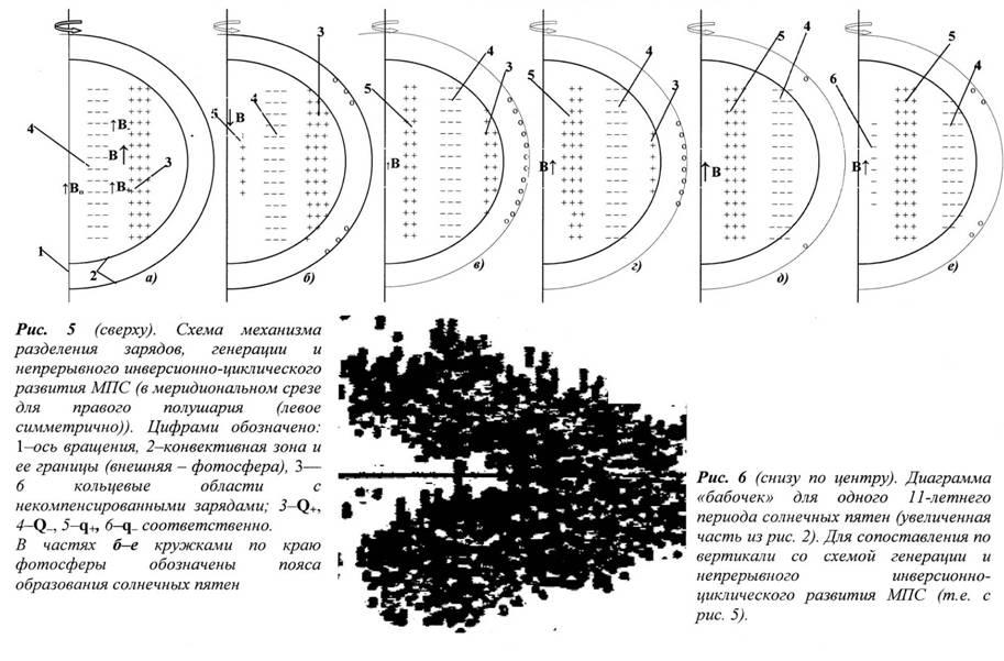 Схема механизма разделения зарядов генерации и непрерывного и инверсионно-циклического развития Магнитного Поля Солнца