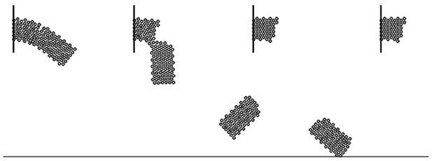Рис. 3. Моделирование разрушения балки (в центральной части дефект).