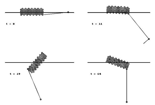 Рис. 10. Движение плавающего бревна и привязанного к нему груза.