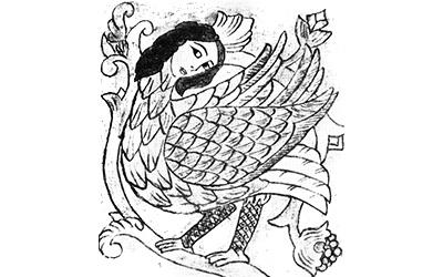 Клюевский рисунок Птицы Сирин