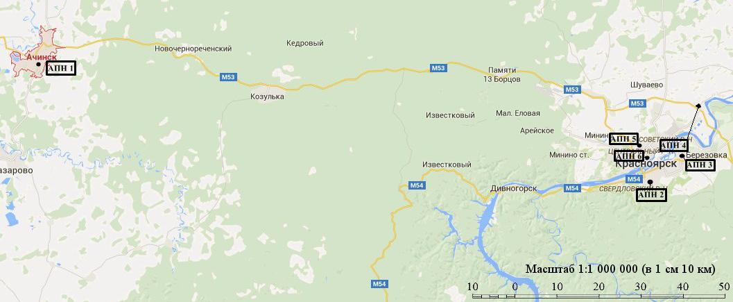 Карта-схема Красноярского края с нанесенными точками местоположения АПН