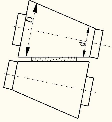 Рисунок 1 - Схема прокатки полосы в валках с обратной конусностью