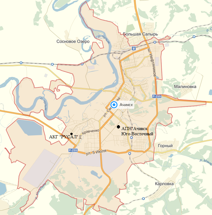 Карта – схема города Ачинска с нанесенными точками месторасположения АПН «Ачинск - Юго-Восточный», РУСАЛ «Ачинский глиноземный комбинат»