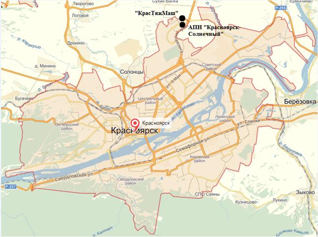 Рисунок 1. Карта – схема города Красноярска с нанесенными точками месторасположения АПН «Красноярск – Солнечный» и «КрасТяжМаш»