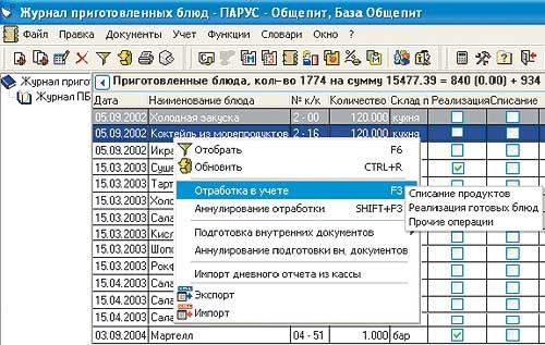 Интерфейс программы ПАРУС - Общепит. База Общепит.