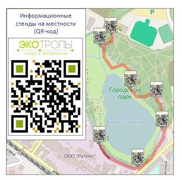Рисунок 2. Информационные стенды с QR-кодами на маршруте экотропы