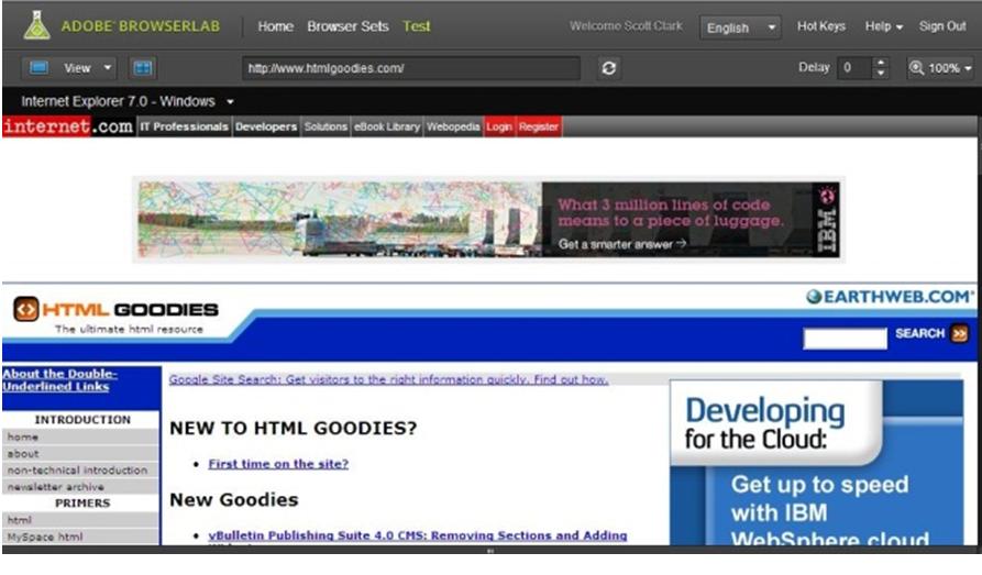 Рисунок 2- Интерфейс программы Adobe BrowserLab