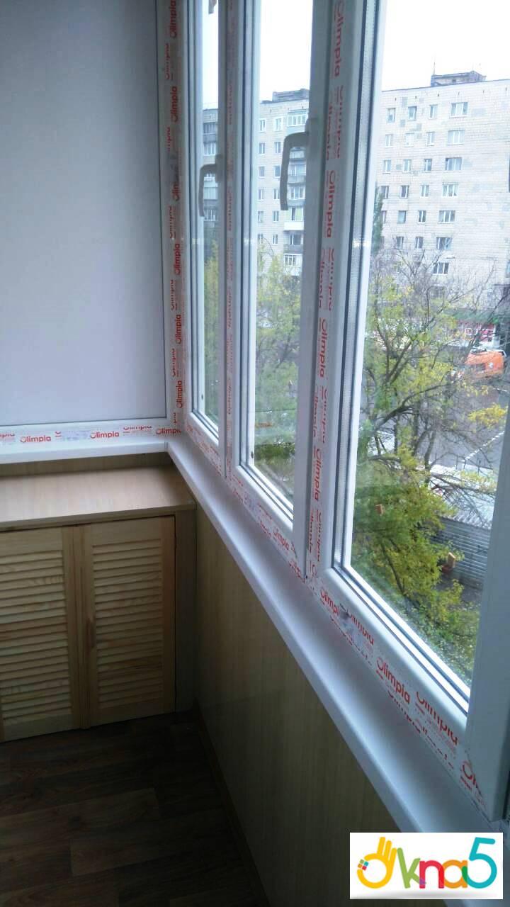 Г-образный балкон в профиле Olimpia, монтаж фирмы ОКна 5