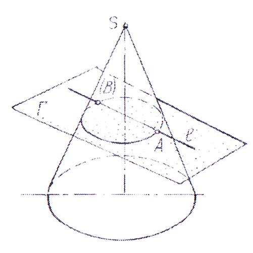Пересечение прямой линии с конической поверхностью